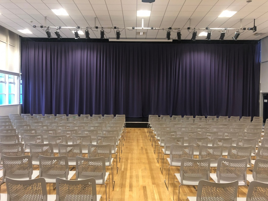 Complete Stage Curtain Install Purple